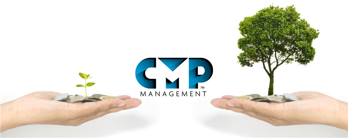 CMP logo with small and large tree on either side